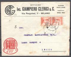 Italia Regno Busta Pubblicitaria Off.Meccaniche Clerici Milano VF/F - Publicity