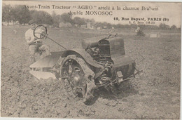CPA   AVANT TRAIN TRACTEUR AGRO ATTELE A LA CHARRUE BRABANT  DOUBLE MONOSOC - Tractores