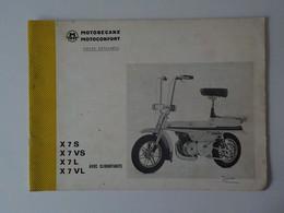 1974 Catalogue Pièces Détachées Motobécane Motoconfort X7S - X7VS - X7L- X7VL  Pantin France - Motorräder