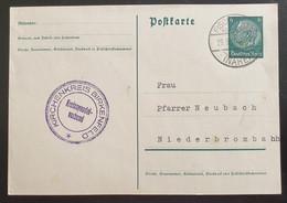Deutsches Reich 1939, Postkarte 6Pf, FISCHBACH(NAHE) Selten! - Brieven En Documenten