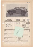 Véhicule Blindé Pantserwagen Armour Panzer Personenkraftwagen Fiche Technique Datenblatt Allemande German - Vehicles