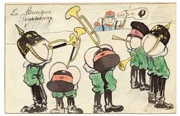 Guerre 1914-18. La Musique Prussienne. Tas De Q ( Culs )  Caricature Scatologique.( Têtes à Cul ) - War 1914-18
