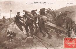 Peinture Et Tableau Peintre A. Larteau Un Coup De Main Salon De Paris Militaire Canon Artillerie Cachet 1916 - Peintures & Tableaux