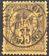RARE SAGE N° 93 35c. VIOLET-NOIR/JAUNE OB. CAD MARITIME P5a (MAURY) COTE > 100 € - 1876-1898 Sage (Type II)