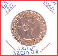 "GRAN BRETAÑA  MONEDA – ONE PENNY AÑO 1967"""""""" ELISABETH II DEI GRATI REGINA """""""" - 1902-1971 : Monete Post-Vittoriane"