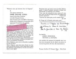 DD 319. DAME PAULINE LOSEN - Veuve De Mr. Neufcour Et De Mr. Hettich - TONGRES (TONGEREN) 1885 / 1970 - Andachtsbilder