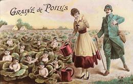 Graine De Poilus - Bébés Casqués Dans Les Choux Tirage Bromure G. Piprot - Patriotic