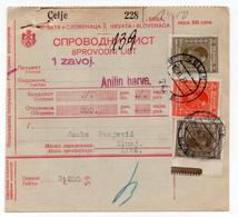 1928 YUGOSLAVIA,SLOVENIA,CELJE TO SUNJ,PARCEL CARD,14.50 DIN. STAMP,0.50 PARA DOUBLE PERF - Covers & Documents
