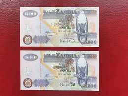 Lot De 2 Billets Consécutifs De 100 Kwachas De Zambie De 2009 Neuf UNC - Sambia
