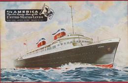 United States Line SS AMERICA Luxury Passenger Liner Transatlantique Paquebot De Ligne - Steamers