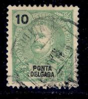! ! Ponta Delgada - 1897 D. Carlos 10 R - Af. 15 - Used - Ponta Delgada
