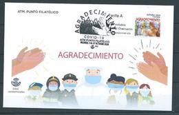 ESPAGNE SPANIEN SPAIN ESPAÑA 2020 ETIQUETA ATM GRATITUDE AGRADECIMIENTO COVID-19 FDC - FDC