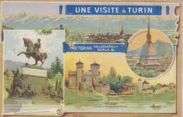 TORINO-UN VISITE A TURIUN-NO CARTOLINA-BROCHURE COMPOSTA DA 6 PAGINETTE-FORMATO CARTOLINA CENTIMETRI 9 X 14 - Places