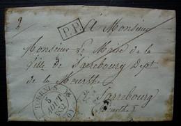 Tournus 1832 Cad Type 12 Lettre En Port Payé Pour Le Maire De Sarrebourg (Meurthe) - 1801-1848: Precursors XIX