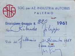 Tessera - Atas - Soc. Per Az. Industria Autobus Palermo - 1961 - Documentos Históricos