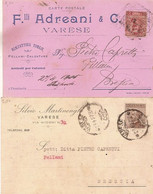 (C).Varese.Lotto Di 2 Cartoline Commerciali Pubblicitarie (223-a17) - Varese