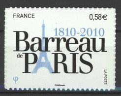 N°508 Y.T. France 2010  Auto Adhésif Bicentenaire Du Barreau De Paris - Luchtpost