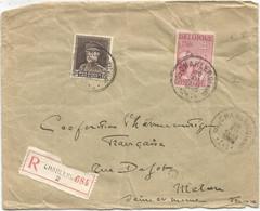 BELGIQUE SURTAXE 1FR+ 2FR50 ALBERT  LETTRE COVER REC CHARLEROI 1933 TO FRANCE - Covers & Documents