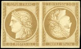 (*) 1e -  10c. Bistre-verdâtre. Paire Tête-Bêche. Fraîcheur Exceptionnelle. 3 Pièces Connues. Ex Collection Bulinger, Ca - 1849-1850 Ceres