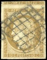 O 1 -  10c. Bistre. Amorce De Tête-Bêche Sur Le Timbre Supérieur. TB. R. - 1849-1850 Ceres