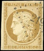 O 1 -  10c. Bistre. Obl. PC. Nuance Tirant Sur Le Verdâtre. TB. - 1849-1850 Ceres