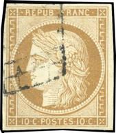 O 1 -  10c. Bistre-jaune. Obl. Grille Légère. TB. - 1849-1850 Ceres