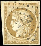 O 1 -  10c. Bistre-jaune. Obl. PC Légère. TB. - 1849-1850 Ceres