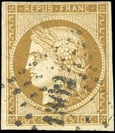 O 1 -  10c. Bistre. Obl. PC 1302. Marge Supérieure Courte Mais Belle Nuance. B. - 1849-1850 Ceres