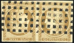 O 1 -  10c. Bistre. Paire Tête-bêche. Obl. Gros Points. SUP. R. - 1849-1850 Ceres
