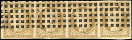 O 1 -  10c. Bistre. Bande De 4. Obl. Gros Points. Pli D'archive Sinon TB. - 1849-1850 Ceres