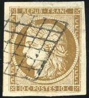 O 1a -  10c. Bistre-brun Foncé. Grandes Marges. Obl. Grille. Pièce Exceptionnelle. SUP. - 1849-1850 Ceres