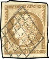 O 1b -  10c. Bistre-verdâtre. Obl. Grille. TB. - 1849-1850 Ceres