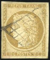 O 1b -  10c. Bistre-verdâtre. Obl. Grille Légère. TB. - 1849-1850 Ceres