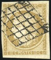 O 1b -  10c. Bistre Verdâtre. Obl. Grille. 3 Grandes Marges. TB. - 1849-1850 Ceres