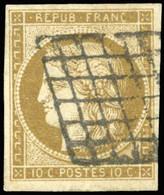 O 1c -  10c. Bistre-verdâtre Foncé. Obl. Grille. Belles Marges. TB. - 1849-1850 Ceres
