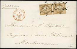 O 1 -  Paire Verticale Du 10c. Bistre-jaune Obl. étoile S/lettre Frappée Du Cachet Rouge BUREAU CENTRAL (60) Du 1er Mars - 1849-1850 Ceres