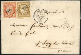 O 15 -  10c. Bistre-jaune (déf.) + 40c. Orange Obl. PC 1887 S/lettre Frappée Du CàD De MORNAY Du 18 Mars 1852 à Destinat - 1849-1850 Ceres