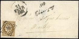 O 1a -  10c. Bistre-brun, Obl. étoile PC 762 S/lettre Frappée De La Cursive ''50 CHASSIGNY'' Et Du Cachet Dateur ''21 FE - 1849-1850 Ceres