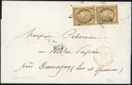O 1a -  Paire Verticale Du 10c. Bistre-brun Obl. étoile S/lettre Frappée Du CàD Au Verso De PARIS (60) Du 29 Décembre 18 - 1849-1850 Ceres