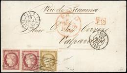 O 1b + 6x2 -  10c. Bistre Verdâtre + 1F. Carmin X 2 (1 Timbre Avec Déf.) Obl. Grille Sans Fin S/lettre Frappée Du CàD De - 1849-1850 Ceres