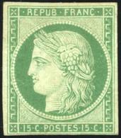 * 2 -  15c. Vert. Très Frais. Marge Intacte En Bas. B. - 1849-1850 Ceres