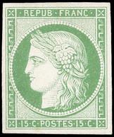 (*) 2 -  Essai Du 15c. Vert. Papier épais. Nuance Claire. SUP. - 1849-1850 Ceres