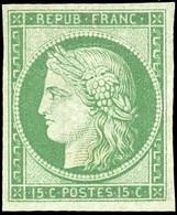 ** 2c -  15c. Vert. Réimpression. TB. - 1849-1850 Ceres