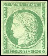 * 2 -  15c. Vert. Belle Nuance. Belles Marges. SUP. RR. - 1849-1850 Ceres