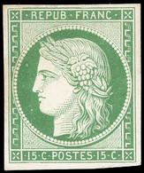 (*) 2 -  15c. Vert. Papier épais. Nuance Foncée. SUP. - 1849-1850 Ceres