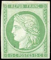 * 2c -  15c. Vert. Réimpression. TB. - 1849-1850 Ceres