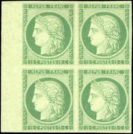 * 2 -  15c. Vert. Bloc De 4 Avec Grand BdeF. Pièce Exceptionnelle. Ex Collection CHAMPION. SUP. RR. - 1849-1850 Ceres