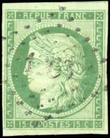 O 2 -  15c. Vert. Obl. Petits Chiffres. Amorce D'un Voisin. SUP. R. - 1849-1850 Ceres