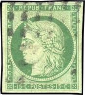O 2 -  15c. Vert. Obl. Gros Points. Effigie Dégagée. SUP. - 1849-1850 Ceres