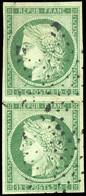O 2 -  15c. Vert. Paire Verticale. Obl. Légère. TB. - 1849-1850 Ceres